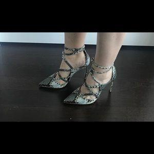 Zara faux snakeskin strappy heels